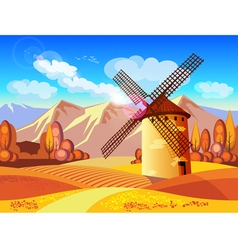 windmill in autumn vector image vector image