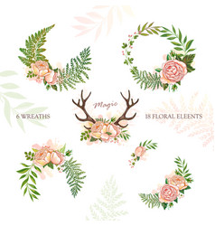 collection of holiday wreaths rustic magic floral vector image vector image