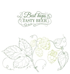 Hop and tasty beer sign over white vector image vector image
