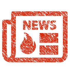 hot news icon grunge watermark vector image