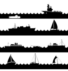 ocean and navy ships variations of scene on sea vector image vector image
