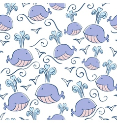 seamless pattern with doodle whales vector image
