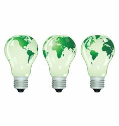 three electric bulbs with maps vector image