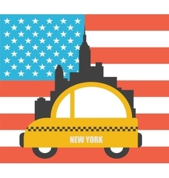 USA Colour Flag New York City Skyline vector image