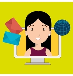 woman laptop global message vector image