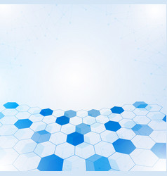 abstract hexagon with lines and points background vector image vector image