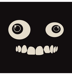 Black background with cartoon eyes and crooked vector image