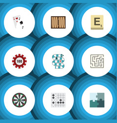 flat icon play set of dice labyrinth jigsaw and vector image