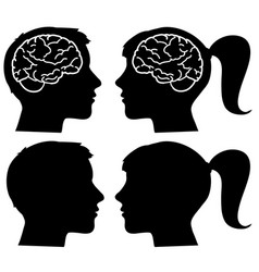 human profiles silhouettes with brain vector image vector image