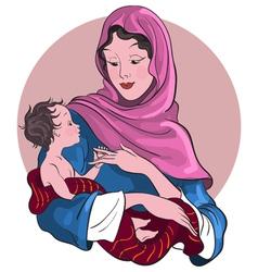 madonna and child jesus christmas theme vector image