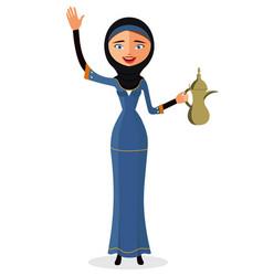 Happy arab woman holding an arabic coffee pot vector