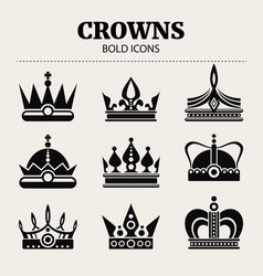 set of crowns flat bold vector image vector image