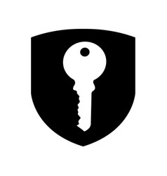 shield insurance with key isolated icon vector image vector image
