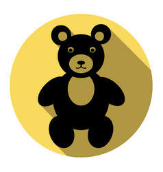 teddy bear sign flat black vector image