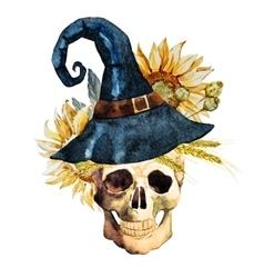 Watercolor halloween skull vector image