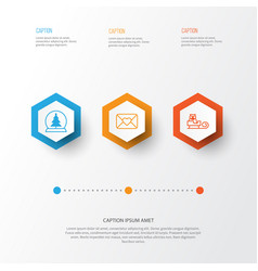 Year icons set collection of celebration letter vector
