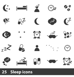 25 sleep icons set vector image