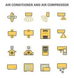 Air conditioner and and remote control icon set vector