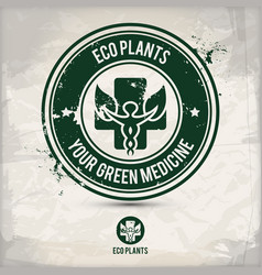 alternative eco plants stamp vector image