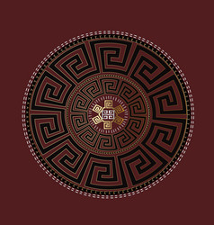 ancient round ornament gold black meander vector image