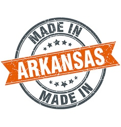 Arkansas orange grunge ribbon stamp on white vector image