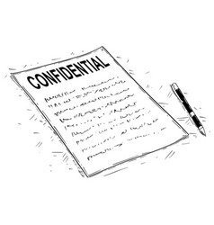 Artistic drawing of handwritten confidential vector