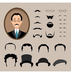 Big set Haircuts glasses beard mustache vector image