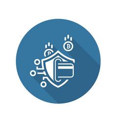 Bitcoin secure transaction icon vector