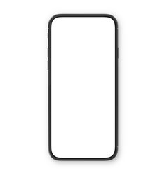 Black smartphone with blank white screen high vector
