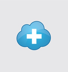 Blue cloud plus icon vector