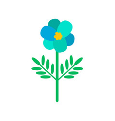 blue primula flower in cartoon style icon vector image