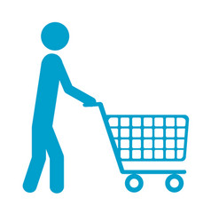 blue silhouette of pictogram man with shopping vector image