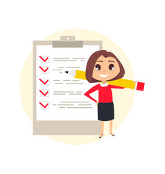 Business woman with checklist vector