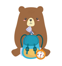 camping cute bear with compass backpack lantern vector image