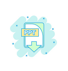 Cartoon colored ppt file icon in comic style ppt vector