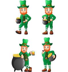 cartoon leprechaun collections set vector image