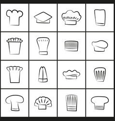 chef hats of all shapes thin outline vector image