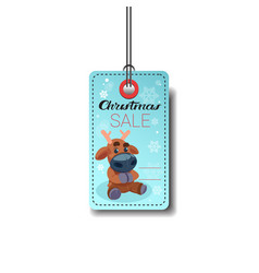 christmas sale tag with reindeer isolated on white vector image