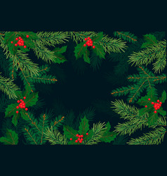 christmas tree branches background for vector image