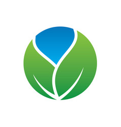 Circle leaf eco nature logo vector