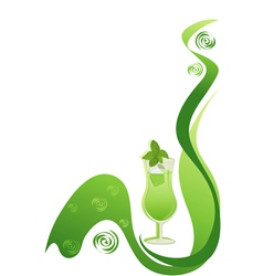 Cocktail green background with mint vector