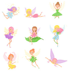 Collection of magic fairies in different dresses vector