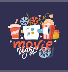 cool web banner design element on movie night vector image
