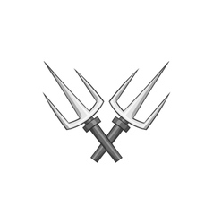 Crossed tridents icon black monochrome style vector