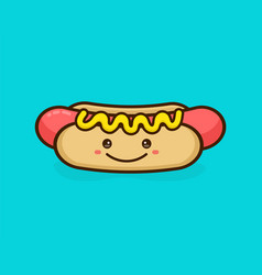 Cute happy smiling tasty hot dog vector