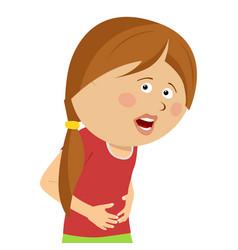 Cute little girl having stamach ache vector