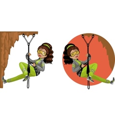 Cute young Indonesian woman mountaineer vector image vector image