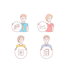 Diagram cogwheel and startup icons handout sign vector