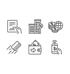 Document credit card and world money icons set vector