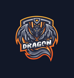 dragon esport gaming mascot logo template for vector image